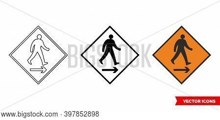 Pedestrian Cross To Right Roadworks Sign Icon Of 3 Types Color, Black And White, Outline. Isolated V