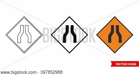 Road Narrows On Both Roadworks Sign Icon Of 3 Types Color, Black And White, Outline. Isolated Vector