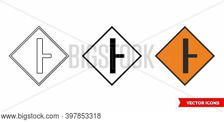 Side Road On Right Roadworks Sign Icon Of 3 Types Color, Black And White, Outline. Isolated Vector S