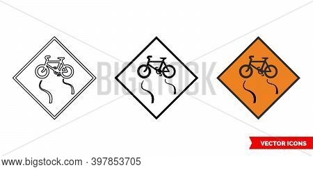 Slippery For Cyclists Roadworks Sign Icon Of 3 Types Color, Black And White, Outline. Isolated Vecto