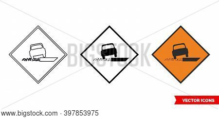 Soft Verge Roadworks Sign Icon Of 3 Types Color, Black And White, Outline. Isolated Vector Sign Symb
