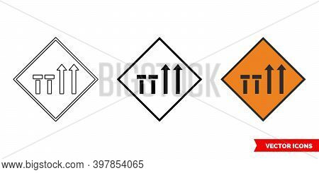 Two Nearside Lanes Of Four Closed Roadworks Sign Icon Of 3 Types Color, Black And White, Outline. Is