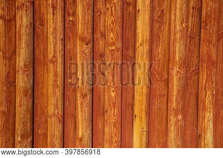 The Detail Of The Traditional Wooden House In Scandinavia With Its Falun Red Colored Planks