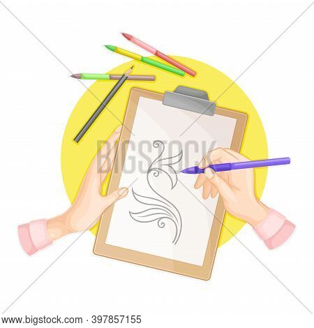 Hands Drawing Tracery With Pencil On Paper As Handmade Craft Vector Illustration