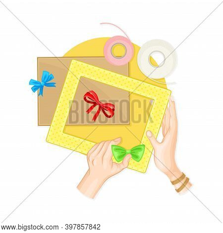 Hands Decorating Photo Frame Border With Bow As Handmade Craft Vector Illustration