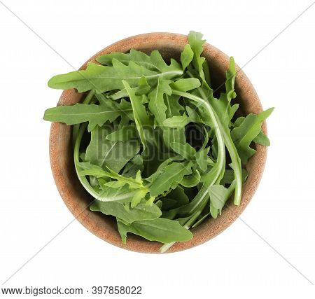 Delicious Fresh Arugula In Wooden Bowl Isolated On White, Top View