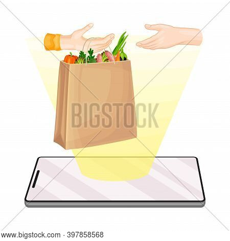 Smartphone And Arm Handing Over Delivery Order Vector Illustration
