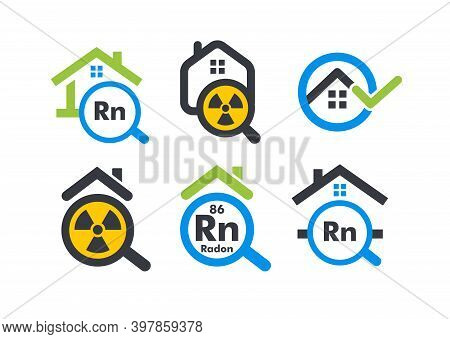 House With Magnifying Flat Cartoon Style Vector Logo Concept. Radon Home Testing Company Isolated Ic