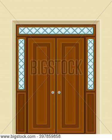 Wooden Double Door With Ornamental Side Window And Doorknob As Building Entrance Exterior Vector Ill