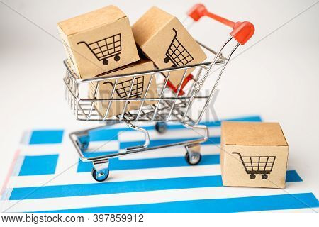 Box With Shopping Cart Logo And Greece Flag, Import Export Shopping Online Or Ecommerce Finance Deli