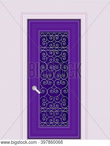 Dark Purple Door With Tracery Ornate As Building Entrance Exterior Vector Illustration