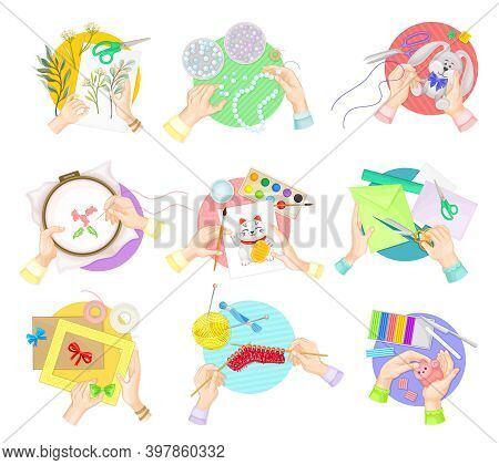 Hands Doing Handmade Crafts Knitting, Painting And Decorating Photo Frame Vector Set