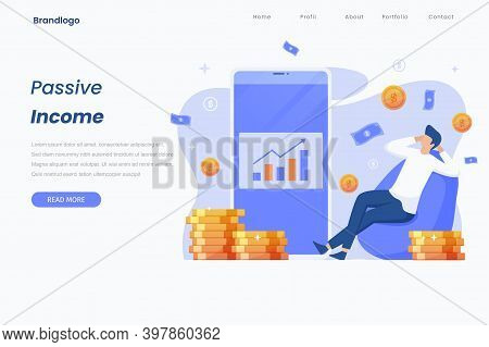 Passive Income Landing Page, Money, Currency, Flat Character