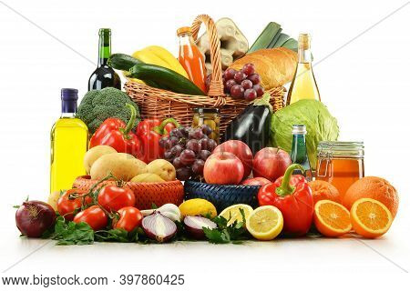 Wicker Baskets With A Wide Variety Of Groceries Including Vegetables And Fruit And Beer. Wicker Bask