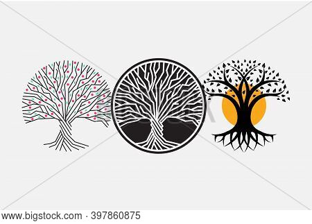 Trunk, Root, And Branches Of Tree Vector Round Logo Concept. Forest Isolated Icon On White Backgroun