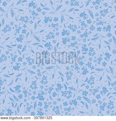 Monochrome Wildflower Texture Pattern. Seamless Vector Repeat Background. Hand Drawn Brush Pen Desig