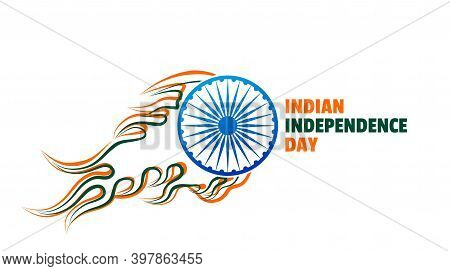 Indian Independence Day Design With Fire Ashoka Chakra Wheel. Good Template For India National Day D