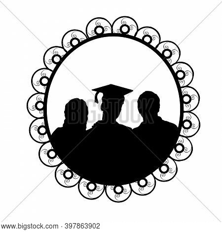 Silhouette In Frame Young Male Graduate Hugging His Parents. Illustration Symbol Icon