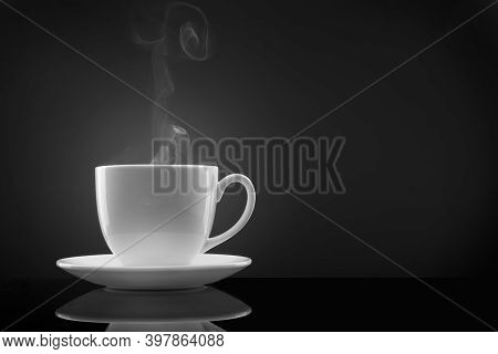 A Cup Of Coffee On A Cup. Black Americano Coffee. Coffee Cup On Black Background. Great Coffee.