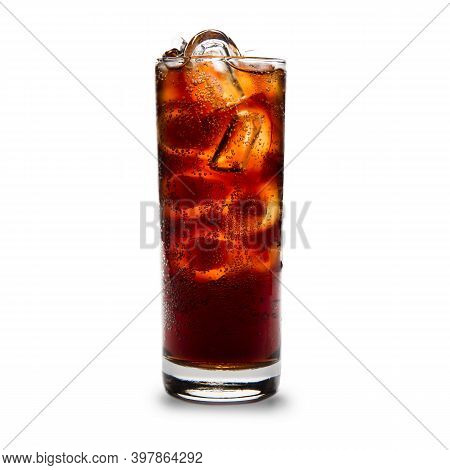 A Glass Of Cold Cola Drink With Ice Cubes Isolated On A White Background.