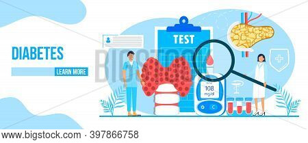 Diabetes Mellitus, Type 2 Diabetes And Insulin Production Concept Vector. Landing Page With Magnifie