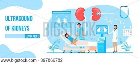Ultrasound Of Kidneys Concept Vector. Pyelonephritis, Diseases And Kidney Stones Illustration. Docto