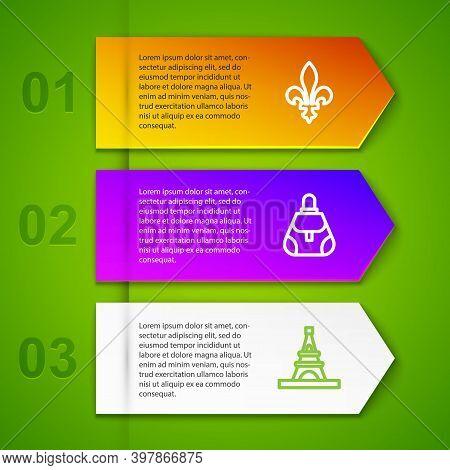 Set Line Fleur De Lys, Handbag, Eiffel Tower And Coffee Cup. Business Infographic Template. Vector