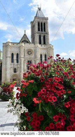 Basilica Of Saint-denis Or Basilique Royale De Saint-denis. Facade And Bell Tower. Paris, France.