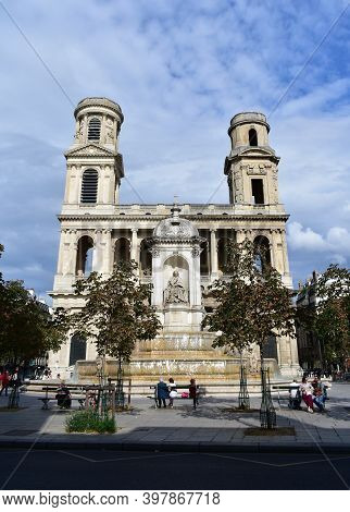 Paris, France. August 12, 2019. Eglise Saint-sulpice De Paris Neoclassical Facade And Towers With Fo