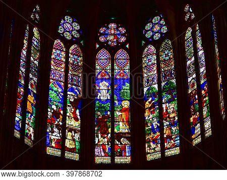 Paris, France. August 12, 2019.  Apse Stained Glass Windows At Basilique Royale De Saint-denis.