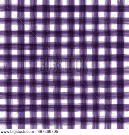 Purple White Violet Vintage Checkered Background With Blur, Gradient And Grunge Texture. Classic Che