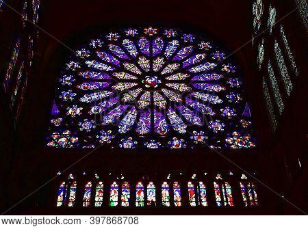 Paris, France. August 12, 2019. Rose Window And Stained Glass Windows At Basilique Royale De Saint-d
