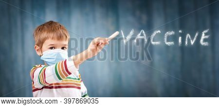 Boy In Medical Face Protection Mask Indoors On Blue Background.