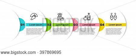 Set Line Fan Flamenco, Bullfight, Matador, Apple Cider Bottle And Earrings. Business Infographic Tem