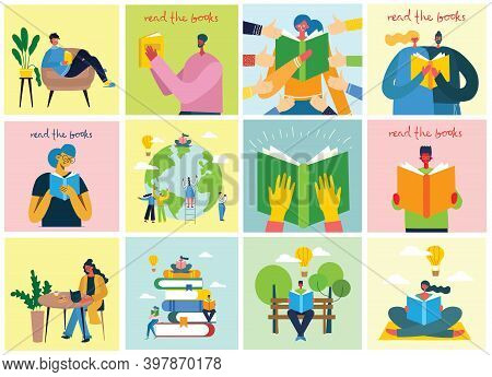 Read The Book. Illustration Of A People Reading A Book While Sitting On A Pile Of Books