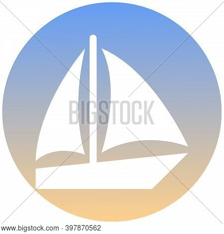 Sailing Boat Symbol Of A Set. White Boat Icon, On Gradient Button. Use For Banner, Card, Poster, Bro