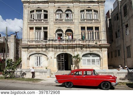 Havana, Cuba - February 24, 2011: Classic American 1957 Chevrolet Bel Air Car In Havana. American Ol