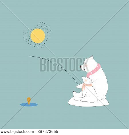 Cute Polar Bear Mommy And Child Fishing Together With Smiling Face,family Bear Dad And Cub Catching