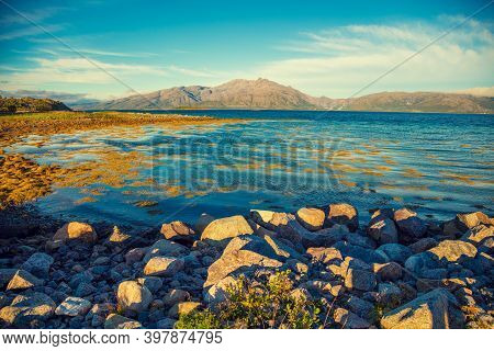 Arctic Wilderness, Mountain Landscape At Magic Sunset, Rocky Sea Shore. Beautiful Fjord, Pebbles Sea