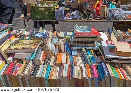 Amsterdam, Netherlands - May 16, 2018: Old Books At Flea Market In Amsterdam, Holland.
