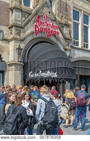 Amsterdam, Netherlands - May 16, 2018: Crowd Of Tourists At Famous Dungeon Attraction In Amsterdam,