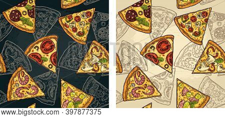 Seamless Pattern Slice Pizza Pepperoni, Hawaiian, Margherita, Mexican, Seafood, Capricciosa.