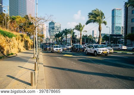 Tel Aviv Israel December 02, 2020 View Of City Traffic In The Streets Of Tel Aviv During The Coronav