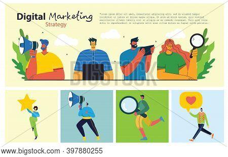 Flat Design Illustration Concept For Digital Marketing. Concept For Web Banner And Promotional Mater