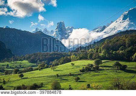 Mountain Landscape Of Asturias With Emblematic Picu Uriellu Aka Naranjo De Bulnes On The Horizon. Pi