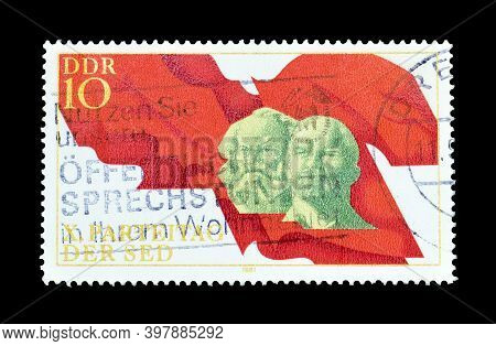 East Germany - Circa 1981 : Cancelled Postage Stamp Printed By East Germany, That Shows Marx, Lenin