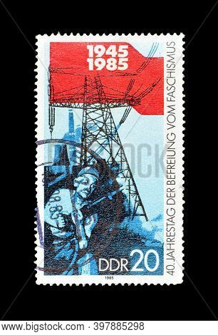 East Germany - Circa 1985 : Cancelled Postage Stamp Printed By East Germany, That Shows Coal And Ene