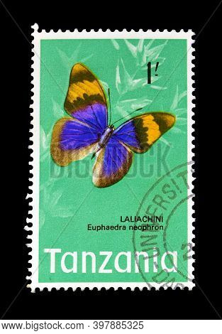Tanzania - Circa 1973 : Cancelled Postage Stamp Printed By Tanzania, That Shows Gold Banded Forester