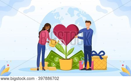 Philanthropy Abstract Concept. Voluntary Charity Persons. Symbolic Love, Humanity As Nonprofit Socia