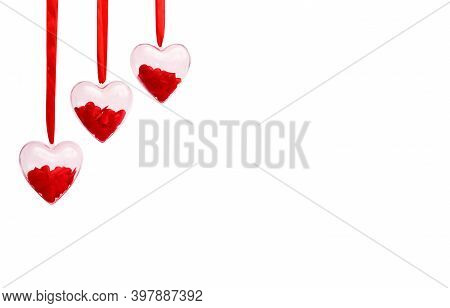 Transparent Hearts With Red Confetti Inside On A White Isolated Background. Valentines Day Greeting